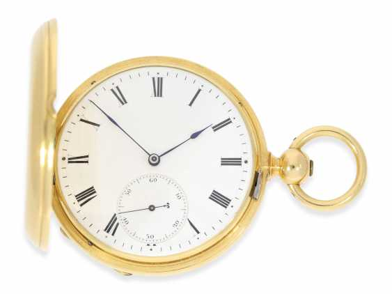 Pocket watch: very fine Dent Pocket chronometer in near mint condition with original box, high fine Spring chronometer with Spherical spiral, No. 487, CA. 1865 - photo 1