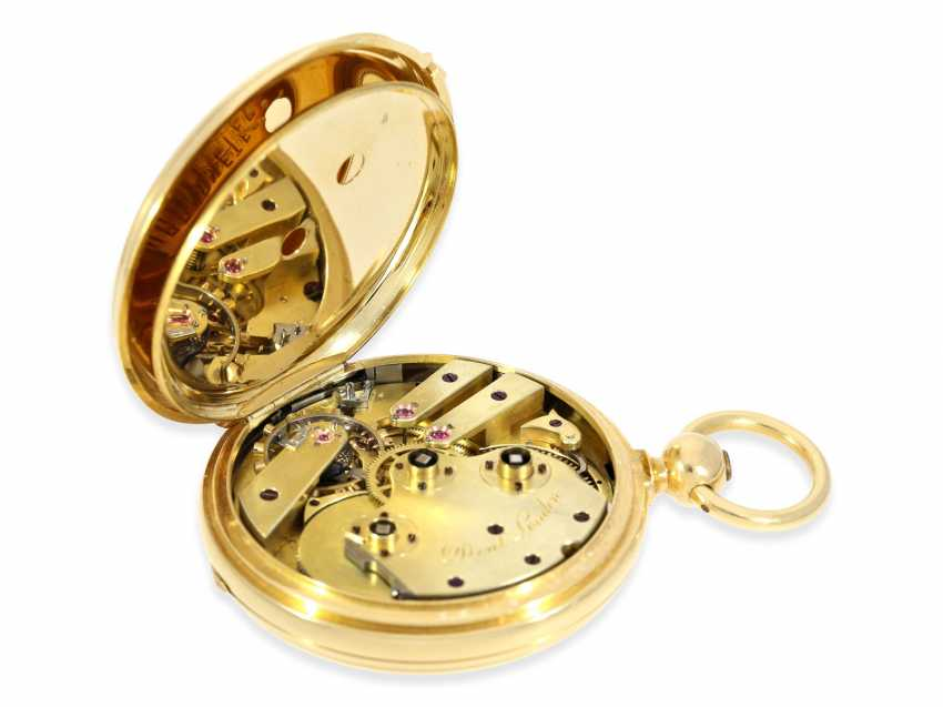 Pocket watch: very fine Dent Pocket chronometer in near mint condition with original box, high fine Spring chronometer with Spherical spiral, No. 487, CA. 1865 - photo 3
