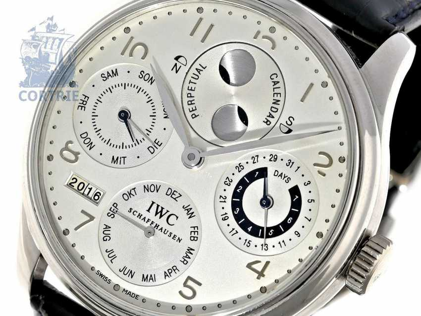 """Watch: exquisite, 250 piece limited-edition IWC Schaffhausen Portuguese """"Perpetual Calendar 8-Day"""" PLATINUM IWC Ref. 502111 with Box and papers - photo 1"""