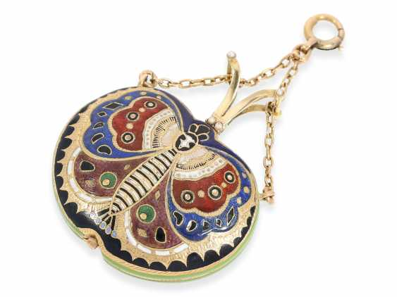 "Formuhr/Halsuhr: one of the most rare Gold/enamel form watches ""Butterfly"", probably Geneva CA. 1810 - photo 1"