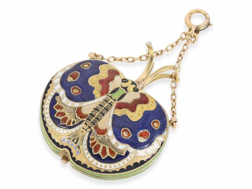 "Formuhr/Halsuhr: one of the most rare Gold/enamel form watches ""Butterfly"", probably Geneva CA. 1810 - photo 2"