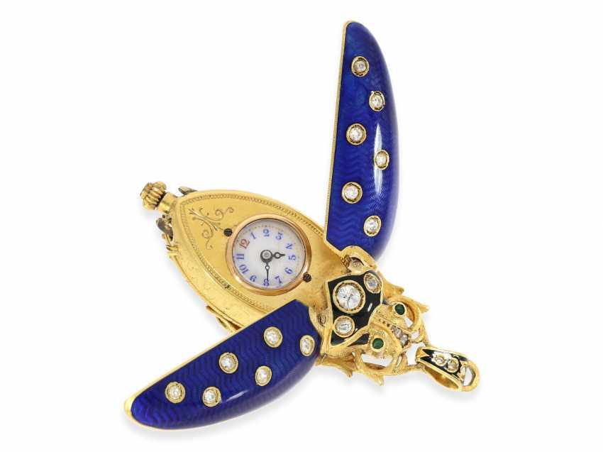 "Halsuhr/Anhängeuhr: very fine Gold/enamel Anhängeuhr ""scarab"" in the extremely rare size of 59mm! with original diamonds, Geneva, CA. 1890 - photo 4"