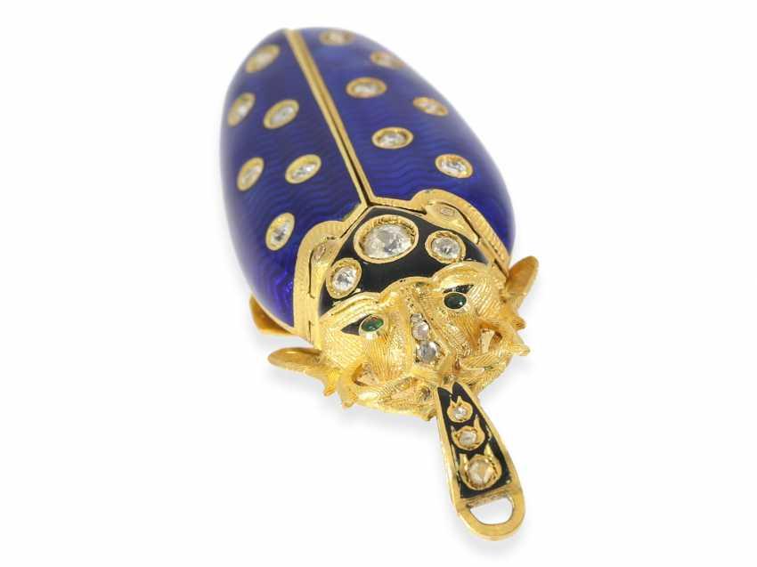"Halsuhr/Anhängeuhr: very fine Gold/enamel Anhängeuhr ""scarab"" in the extremely rare size of 59mm! with original diamonds, Geneva, CA. 1890 - photo 5"