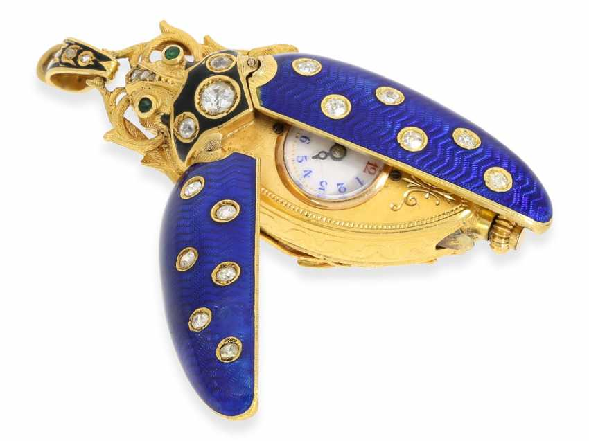 "Halsuhr/Anhängeuhr: very fine Gold/enamel Anhängeuhr ""scarab"" in the extremely rare size of 59mm! with original diamonds, Geneva, CA. 1890 - photo 6"