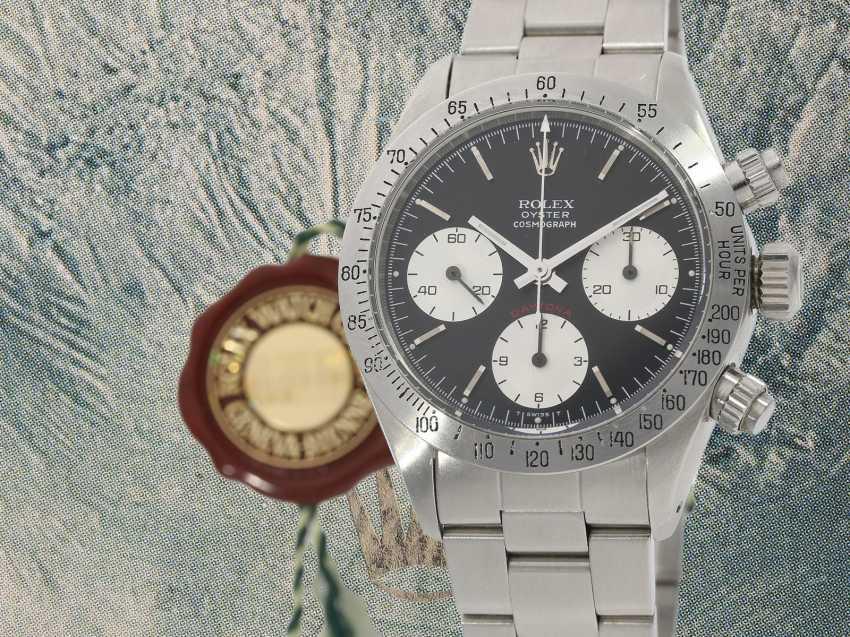 """Armbanduhr: vintage Rolex Oyster Chronograph """"Daytona"""", Ref.6265, ca.1978, Box und Servicepapiere von 2019 - Foto 1"""