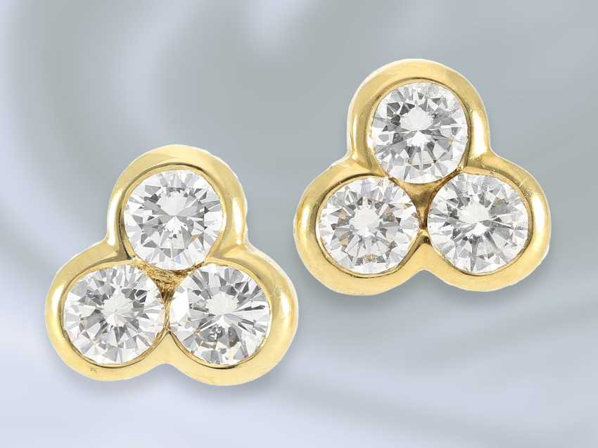 Earrings: Golden vintage stud earrings with brilliant trim, approximately 0.8 ct - photo 1