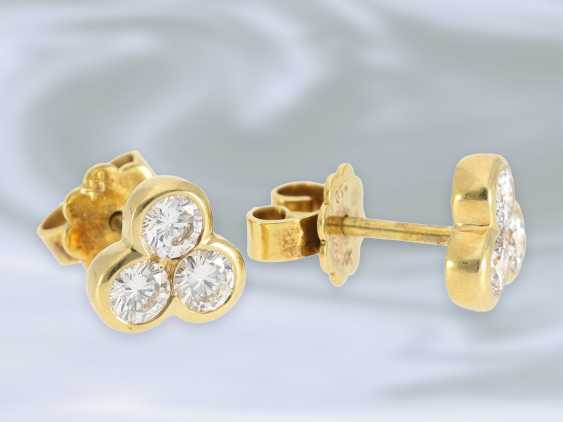 Earrings: Golden vintage stud earrings with brilliant trim, approximately 0.8 ct - photo 2