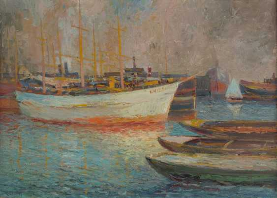 UNKNOWN ARTIST 2. Half of the 20. Century DORMANT of sailing boats IN the PORT - photo 1