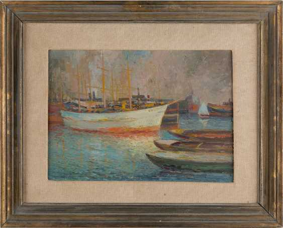 UNKNOWN ARTIST 2. Half of the 20. Century DORMANT of sailing boats IN the PORT - photo 2