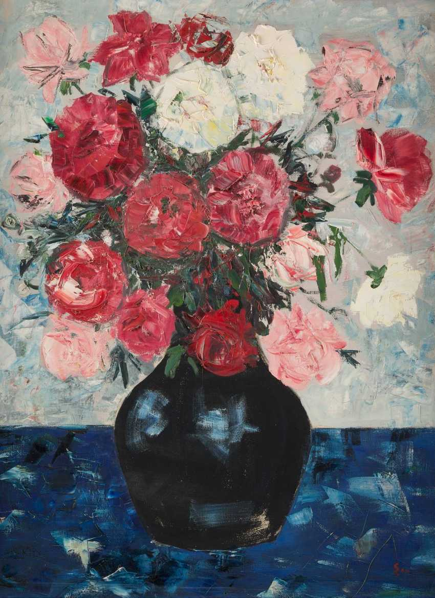 UNKNOWN MODERN Working 2. Half of the 20th century. Century floral still life WITH CHRYSANTHEMUMS - photo 1