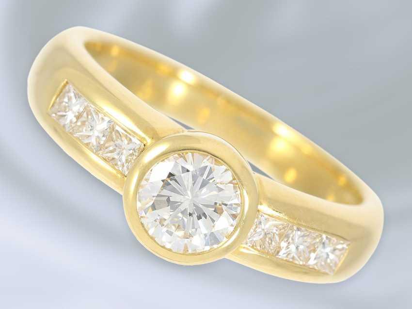 Кольцо: очень высокое качество работы из кожи, модный блестящий/пасьянс золото кованое кольцо, высокое качество, 1ct ок. - фото 1