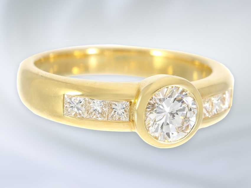 Кольцо: очень высокое качество работы из кожи, модный блестящий/пасьянс золото кованое кольцо, высокое качество, 1ct ок. - фото 2