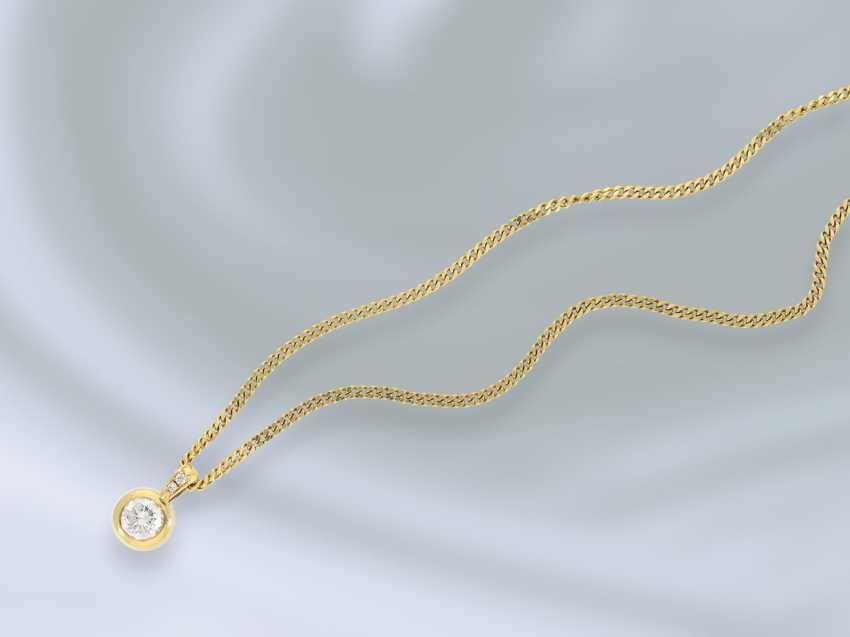 Цепочка/ожерелье: тонкой цепи с танками высококачественного пасьянс/блестящий золото кованого кулон, высоко точный бриллиант 1ct ок. - фото 1