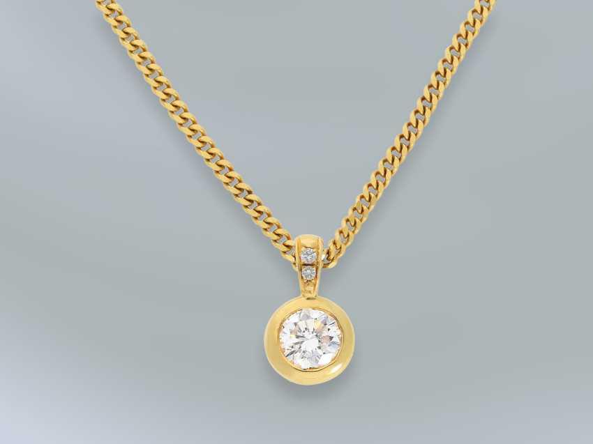 Цепочка/ожерелье: тонкой цепи с танками высококачественного пасьянс/блестящий золото кованого кулон, высоко точный бриллиант 1ct ок. - фото 2