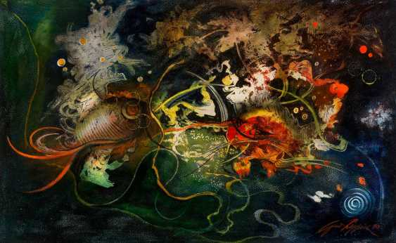 UNKNOWN ARTIST 2. Half of the 20. Century-ABSTRACT COMPOSITION WITH FISH - photo 1
