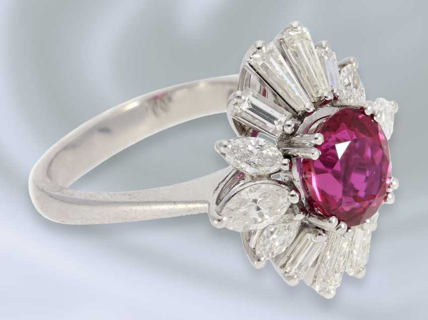 Ring: exquisite, lovely and unusual ruby/diamond gold forged ring is made of platinum, high quality, handmade, approx. 4,24 ct - photo 2