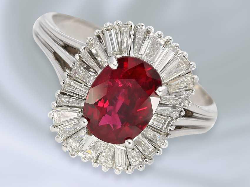 Кольцо: очень высокое качество, 18K белый золотистый винтаж Рубин/алмаз-ювелирные кольцо, высоко точный Rubin около 1,8 ct - фото 1