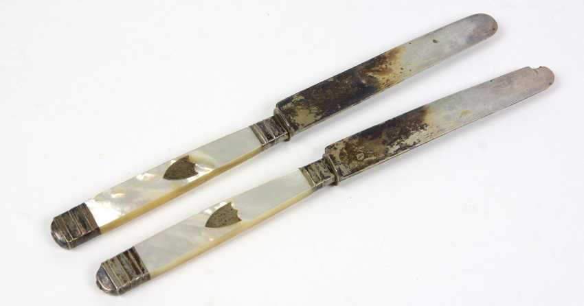 2 silver knife handle with mother-of-Pearl - photo 1
