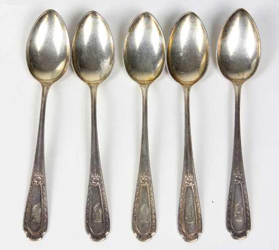 Set Of Art Nouveau Style Coffee Spoons Silver 800 - photo 1