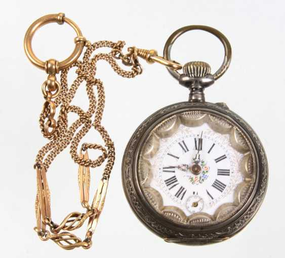 silver pocket watch with watch chain - photo 1