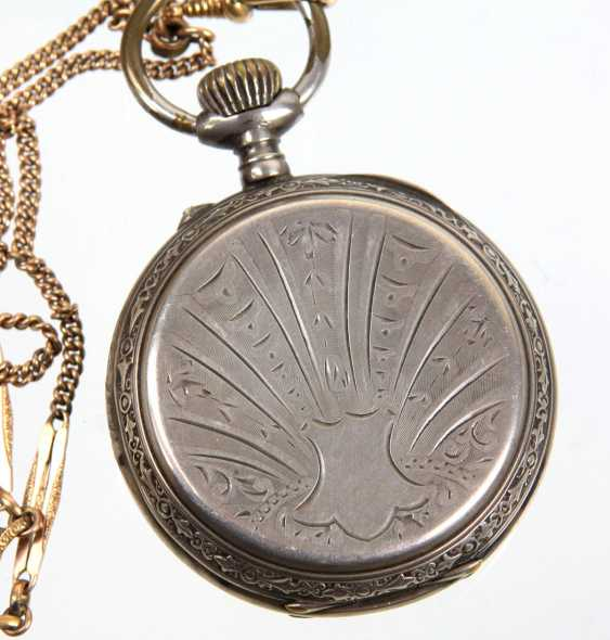 silver pocket watch with watch chain - photo 2
