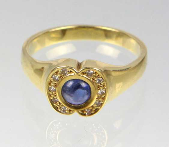 Sapphire Ring with diamonds - yellow gold 585 - photo 1