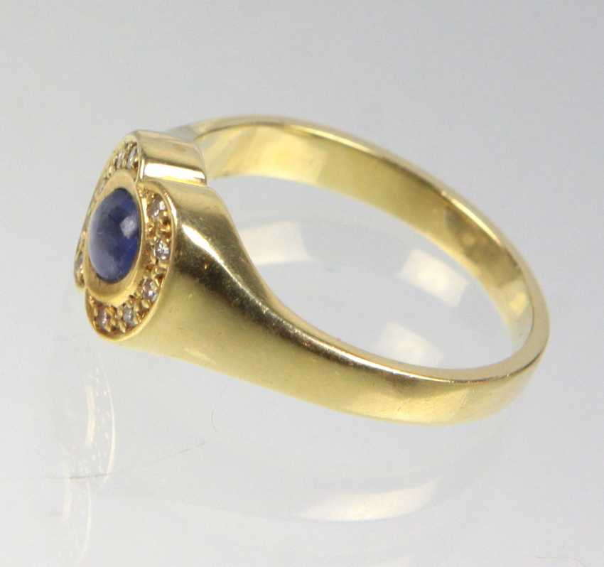 Sapphire Ring with diamonds - yellow gold 585 - photo 2