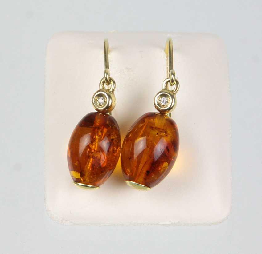 Amber Earrings - Yellow Gold 585 - photo 1