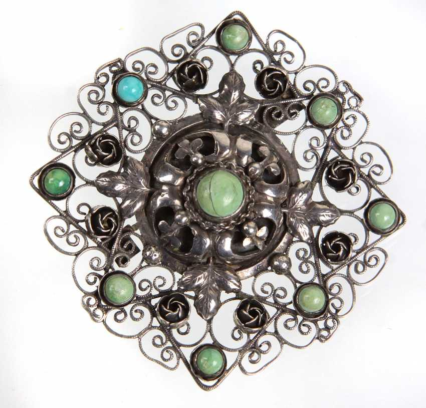 large brooch with turquoise - photo 1