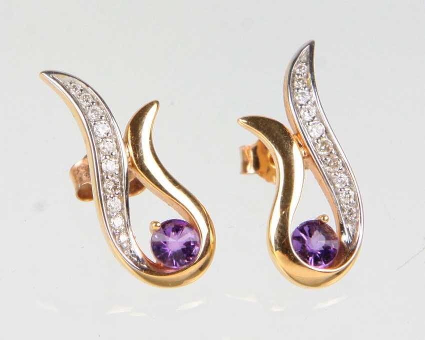Amethyst earrings with brilliant - RG 585 - photo 1