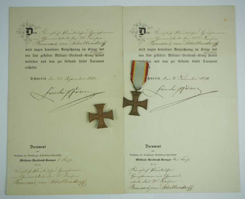 Mecklenburg-Schwerin: Military Merit Cross 1870, 1. and 2. Class with certificates for a captain in the General 22 staff. Division. - photo 1
