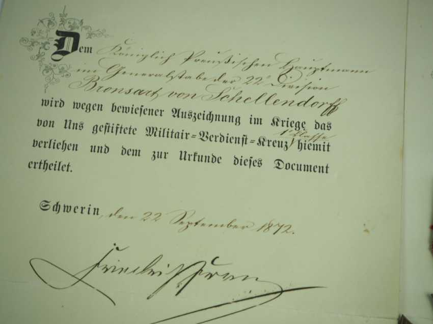 Mecklenburg-Schwerin: Military Merit Cross 1870, 1. and 2. Class with certificates for a captain in the General 22 staff. Division. - photo 2
