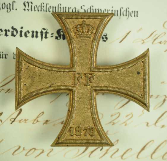 Mecklenburg-Schwerin: Military Merit Cross 1870, 1. and 2. Class with certificates for a captain in the General 22 staff. Division. - photo 3