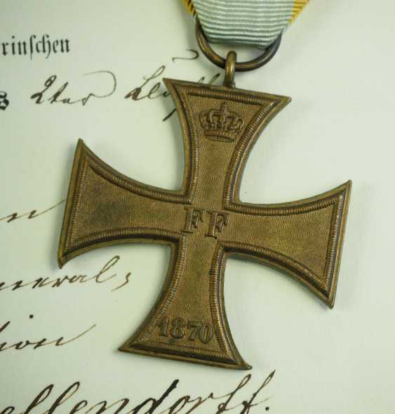 Mecklenburg-Schwerin: Military Merit Cross 1870, 1. and 2. Class with certificates for a captain in the General 22 staff. Division. - photo 5