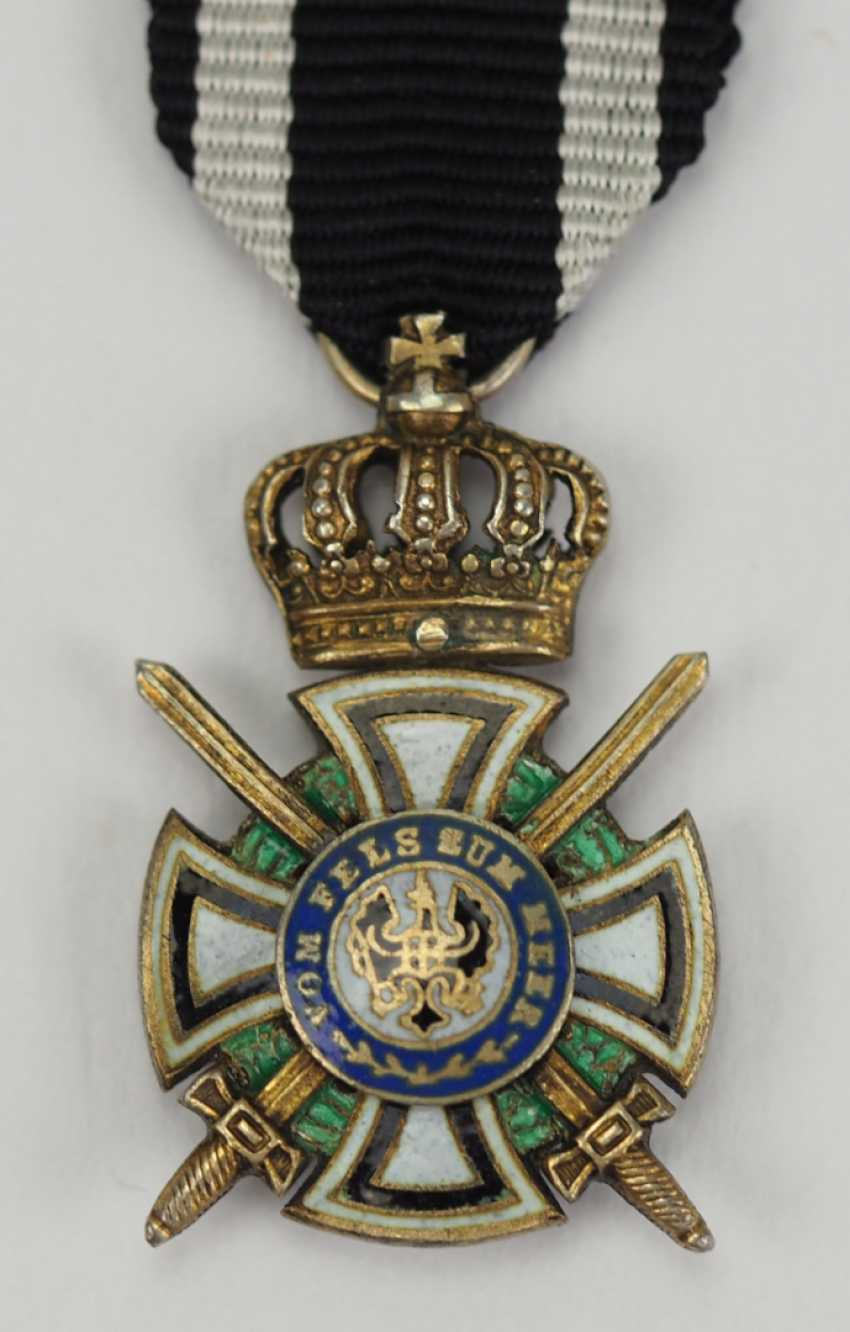 Prussia: Royal house medal of Hohenzollern, knights cross with swords miniature. - photo 1