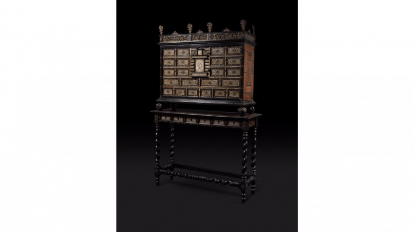 Cabinet in marquetry of ivory, bone and ebonized wood - photo 1