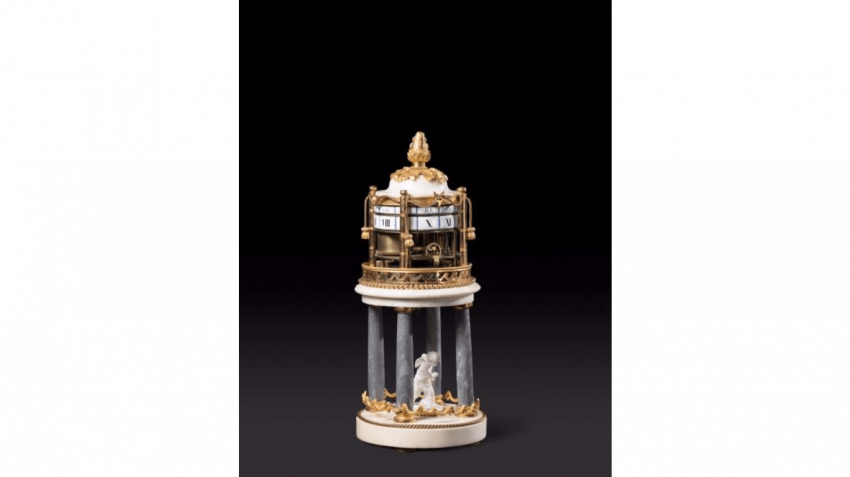 Pendulum with rotating ring in marble and gilt bronze two-tone gold - photo 1