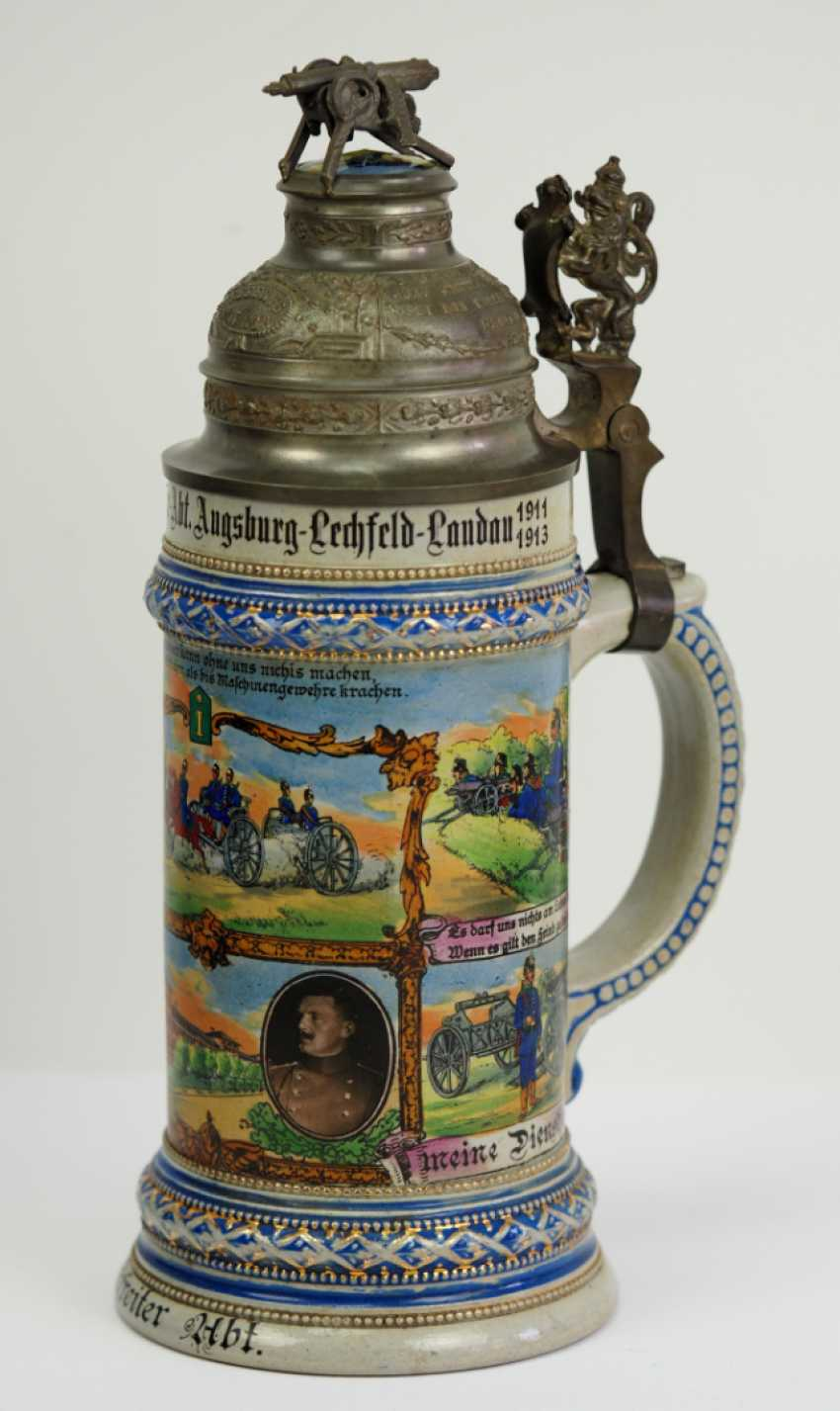 Bavaria: reservists jug of a corporal of the 1. Machine Gun Sect. Augsburg-Lech-Field Landau 1911-1913. - photo 4