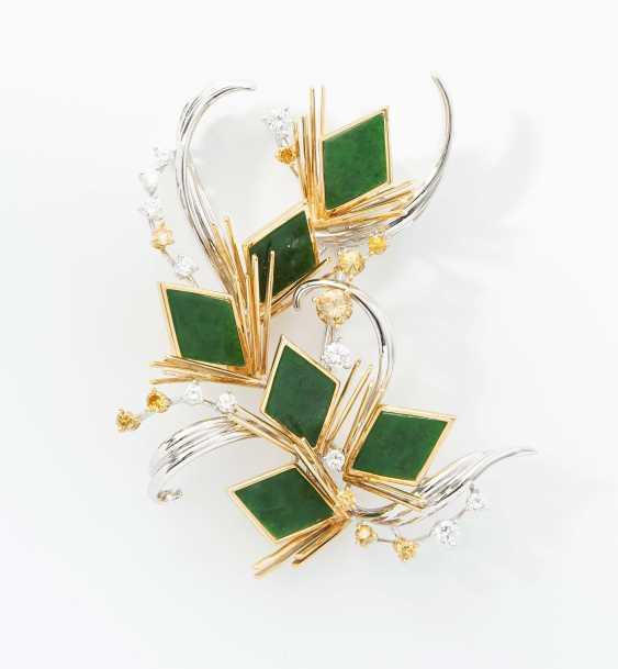 Jadeite And Diamond Brooch - photo 1