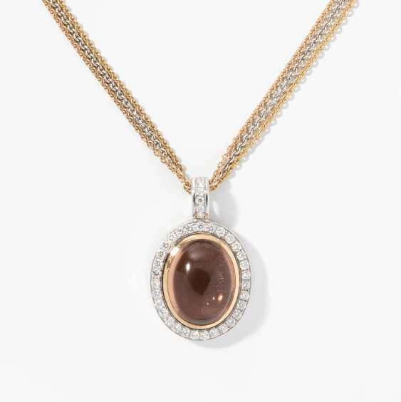 Tourmaline and diamond pendant with chain - photo 1