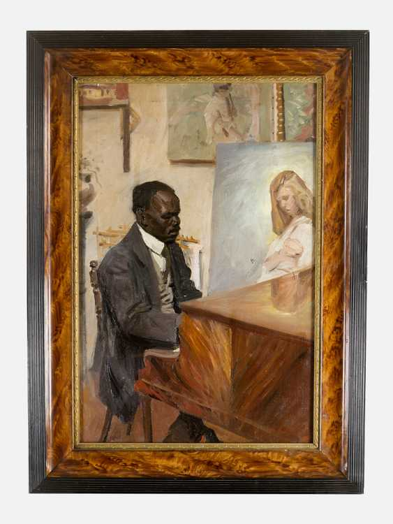 Leon Zeytline (1885- 1962)- attributed girl listening to a piano play oil on canvas signed bottom right framed - photo 1