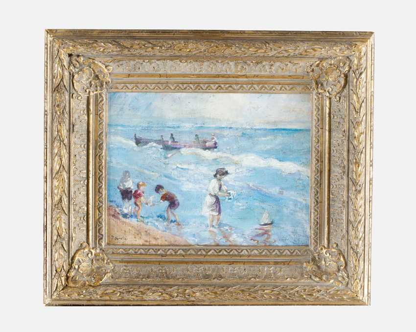 Unknown Artist children playeing by the sea oil on canvas described bottom left J - photo 1