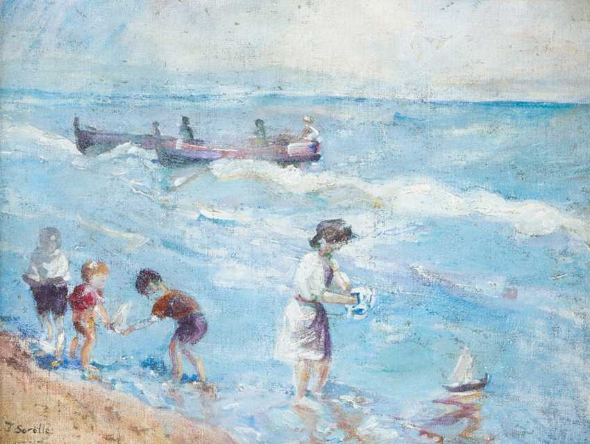 Unknown Artist children playeing by the sea oil on canvas described bottom left J - photo 2
