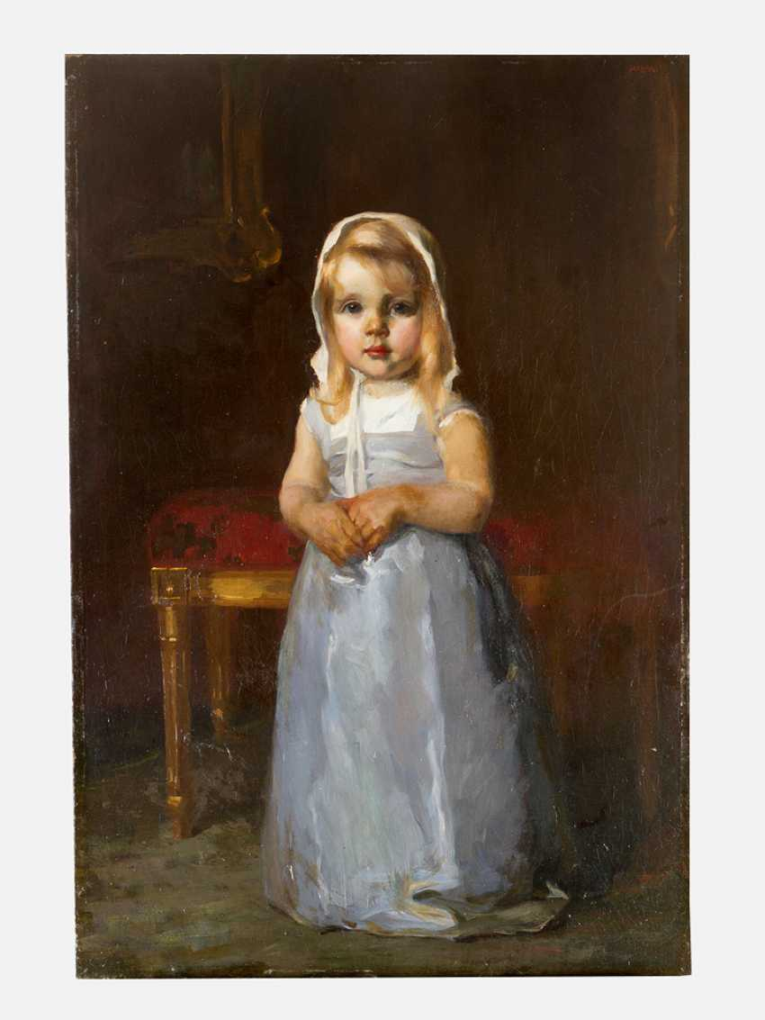 Arthur Halmi (1866-1936) portrait of a young girl oil on canvas signed upper right - photo 1