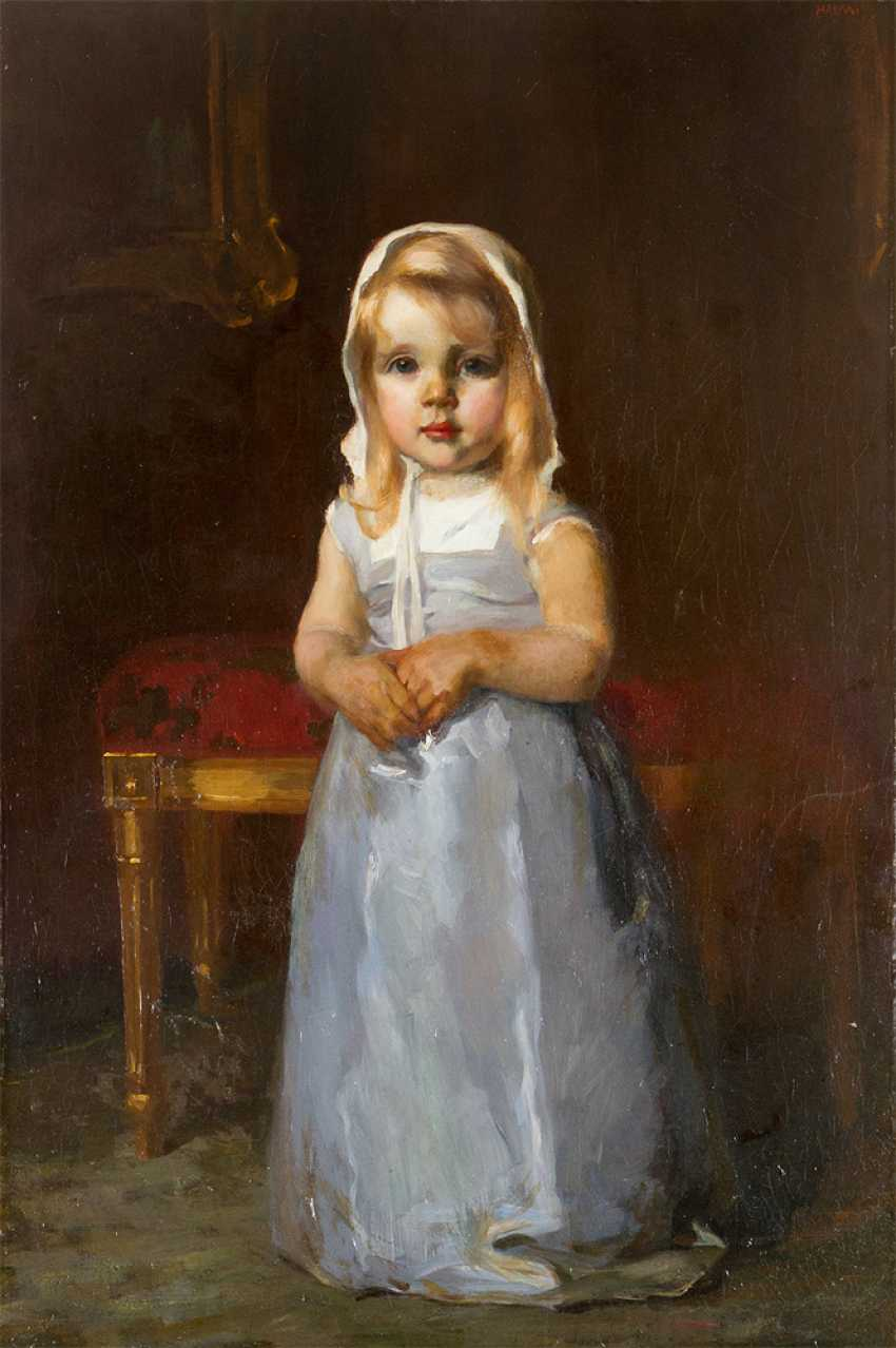 Arthur Halmi (1866-1936) portrait of a young girl oil on canvas signed upper right - photo 2