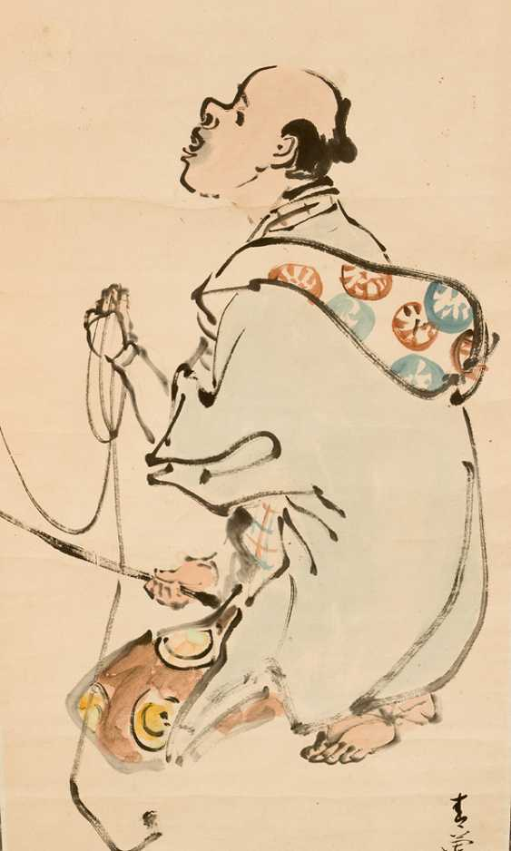 Chinese roll painting men and monkey Indian link and watercolour on paper signed - photo 2