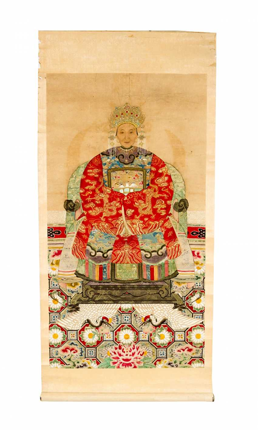 Chinese roll painting portrait of a honourable lady watercolour on paper - photo 1