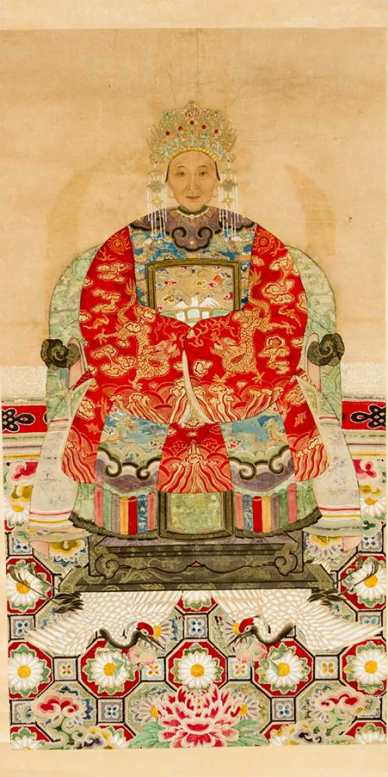 Chinese roll painting portrait of a honourable lady watercolour on paper - photo 2