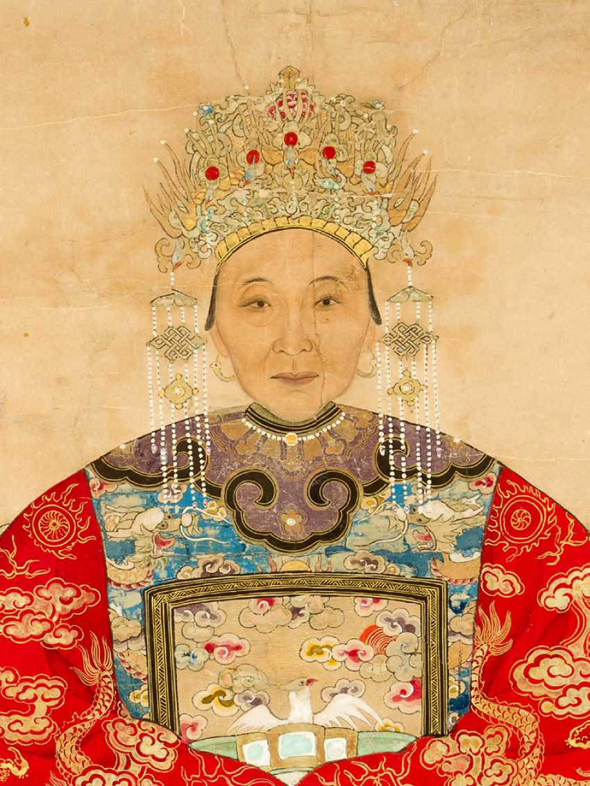 Chinese roll painting portrait of a honourable lady watercolour on paper - photo 3