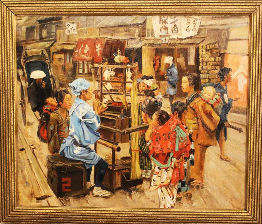 Chinese artist around 19th century street scene oil on canvas framed - photo 1